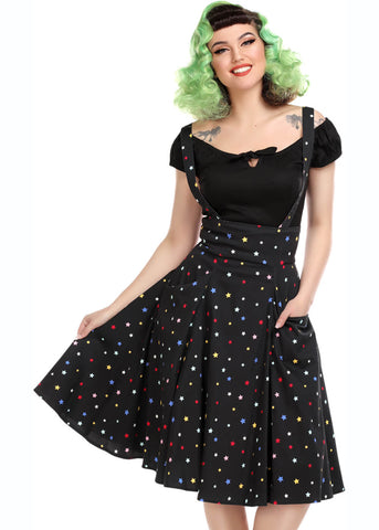 Collectif Alexa Rainbow Star 50's Swing Rok Zwart