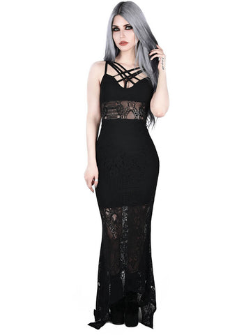 Killstar Deadly Beloved Lace Maxi Jurk Zwart