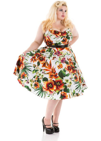 Hearts & Roses Summer Orange 50's Swing Jurk
