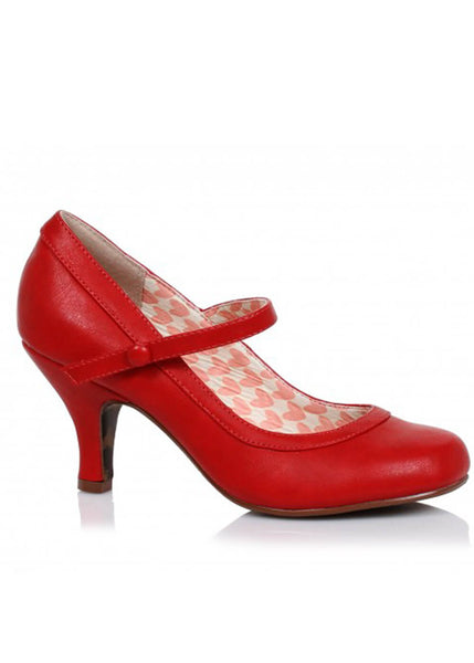 Bettie Page Bettie Retro Mary Jane Pump Rood