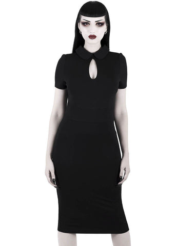 Killstar Rebekka Read Midi Pencil Jurk Zwart
