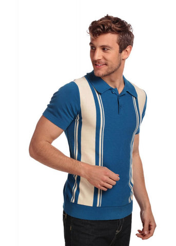 Collectif Heren Pablo Gestreept Polo Shirt Blauw Creme