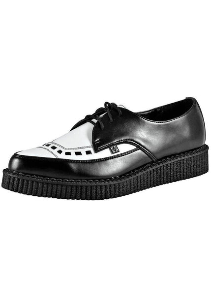 T.U.K Two-Tone Pointed Creepers Zwart Wit