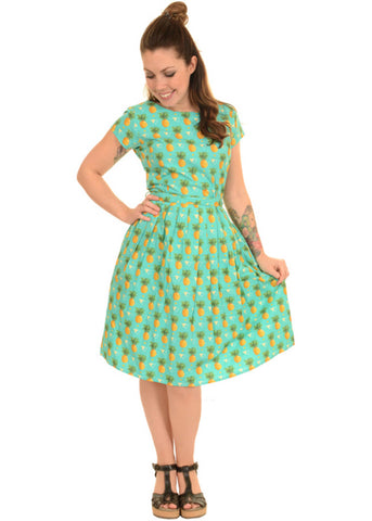 Run and Fly Pineapple 50's Jurk Teal
