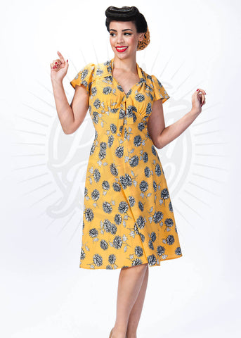 Pretty Retro Tea Dandelions 40s Jurk Goud