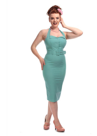 Collectif Wanda 50's Pencil Jurk Groen