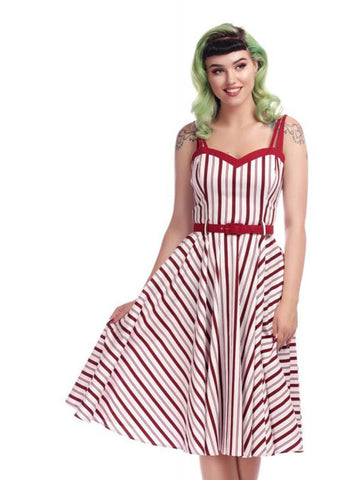 Collectif Nova Candy Stripe 50's Swing Jurk Multi