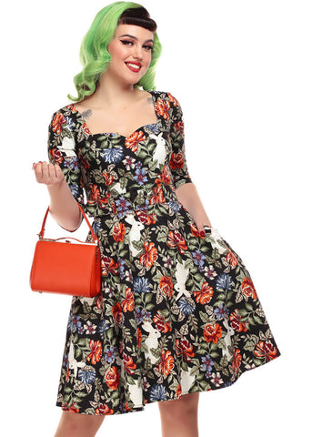Collectif Eliana Forest Floral 50's Swing Jurk Multi