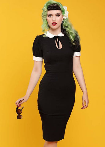 Collectif Khloe 50's Pencil Jurk Zwart