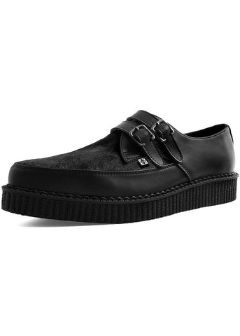 T.U.K Limited Edition Heren Cowhair Leather Pointed Creepers Zwart
