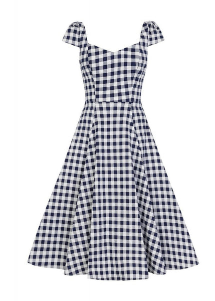 Collectif Monia Gingham 50's Swing Jurk Navy