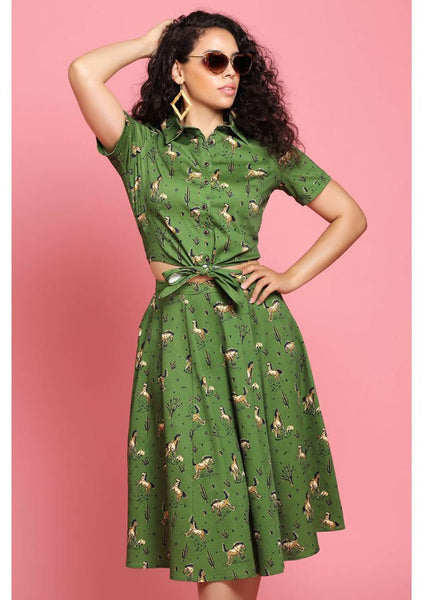 Collectif Matilde Wild West 50's Swing Rok Olijf Groen