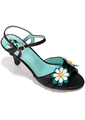 Banned Dazed Blossom 50's Pumps Zwart Aqua