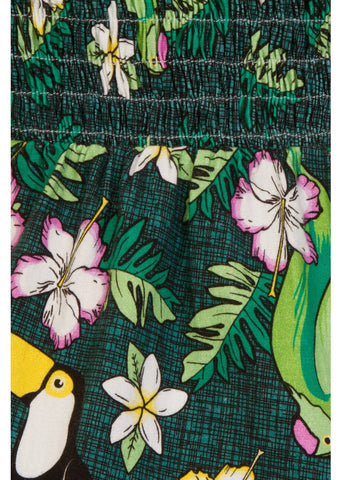 Collectif Mahina Tropical Bird Sarong Jurk Groen