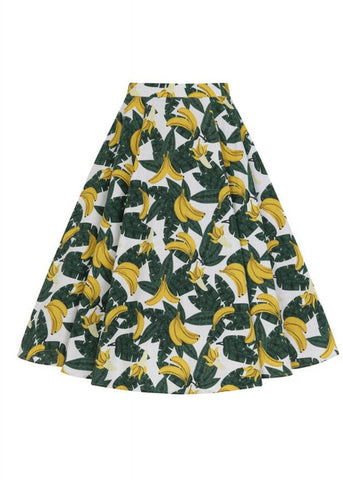 Collectif Matilde Tropical Banana 50's Swing Rok Groen Geel