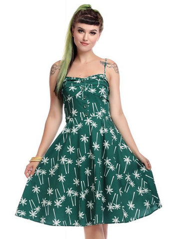 Collectif Fairy Vintage Palm 50's Swing Jurk Groen