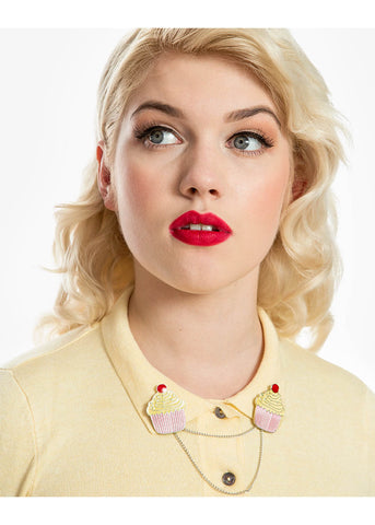 Lindy Bop Collar Pin Cupcake Roze