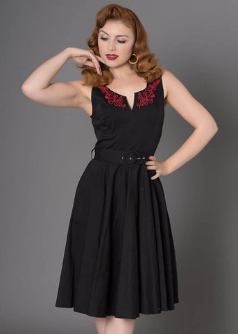 Sheen Georgia 50's Swing Jurk Zwart