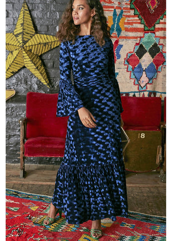 Onjenu Yana Abstract Velvet Maxi 70's Jurk Navy