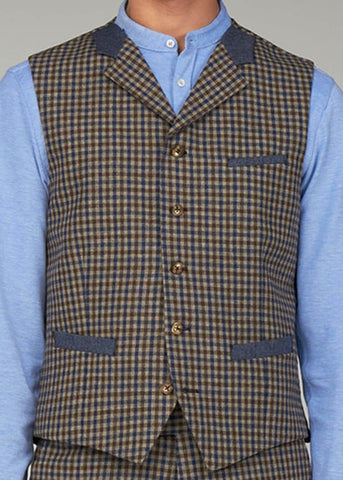 Gibson London Fred Gingham Gilet Bruin Blauw