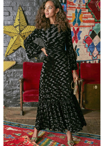 Onjenu Yana Abstract Velvet Maxi 70's Jurk Zwart