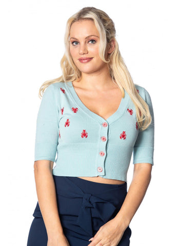 Banned Pinch Me Lobster 50's Cardigan Blauw