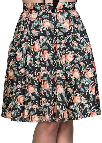 Banned Flamingo Honnie 50's Swing Rok Zwart