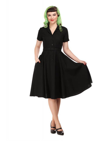 Collectif Caterina 40's Swing Jurk Zwart