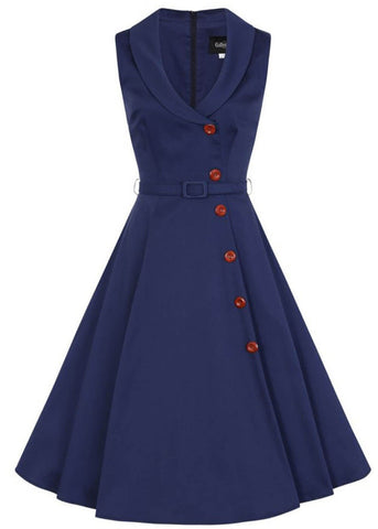 Collectif Sara 50's Swing Jurk Navy