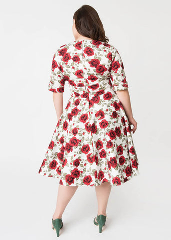 Unique Vintage Delores Red Roses 50's Swing Jurk Wit