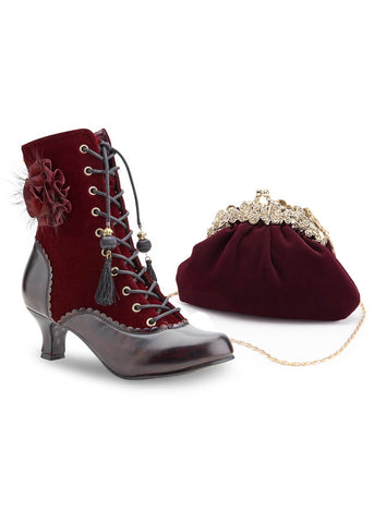 Joe Browns Couture Harlem Velvet 20's Handtas Burgundy