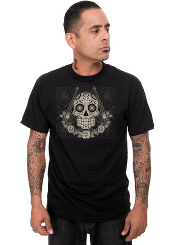 Steady Clothing Heren La Pistolas T-Shirt Zwart