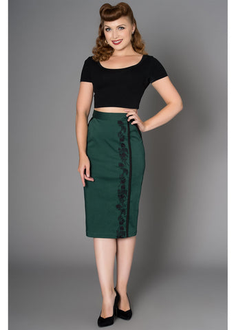 Sheen Quisha 40's Pencil Rok Groen