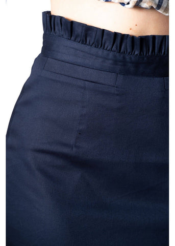 Banned Sail Away Frill 50's Pencil Rok Navy