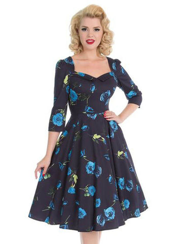 a4c30643a17154 Hearts   Roses Melody 50 s Swing Jurk Blauw
