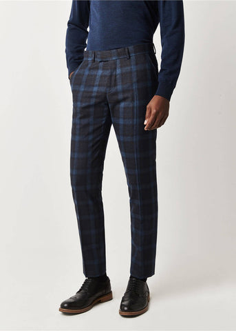Gibson London Harry Check Pantalon Broek Blauw Teal