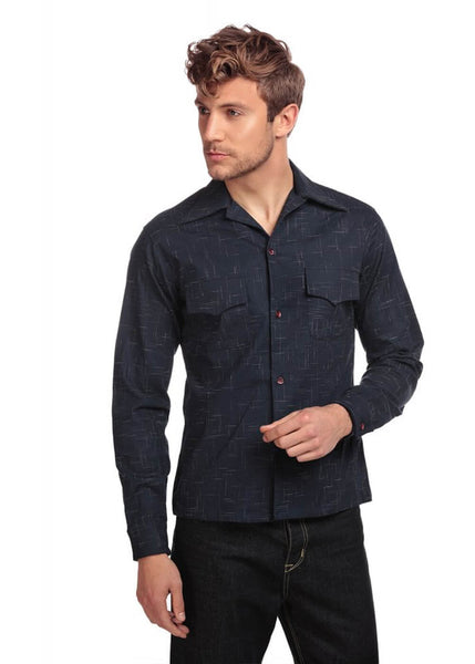 Collectif Heren Adam Crosshatch Shirt Navy