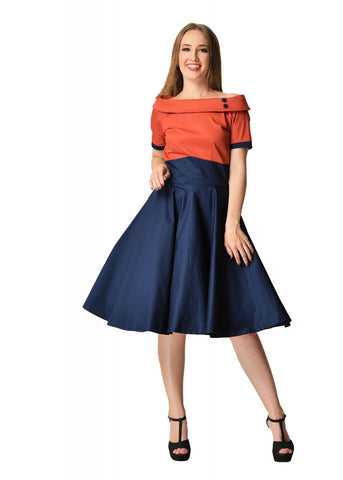 Dolly & Dotty Darlene 50's Swing Jurk Chilli Navy