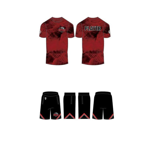 Round Rock Rattlers Lacrosse Men's 2 Piece Uniform Set (Shooter Shirt & Shorts):Junior Red (5/6) Signature Lacrosse