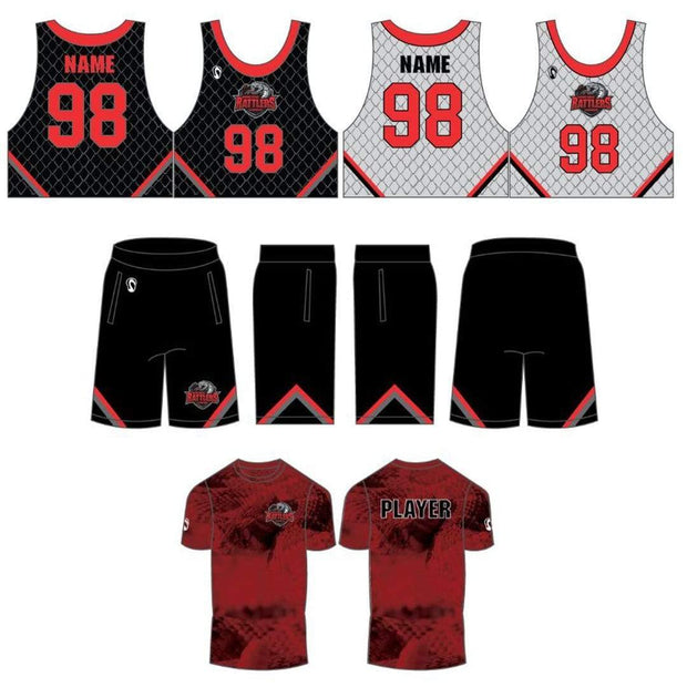 Round Rock Rattlers Lacrosse Men's 3 Piece Uniform Set:Lightning Red (3/4) Signature Lacrosse