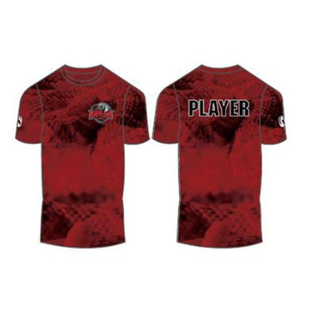 Round Rock Rattlers Lacrosse Men's Performance Short Sleeve Shooter Shirt (Sold Seperately):Senior Red (7/8) Signature Lacrosse