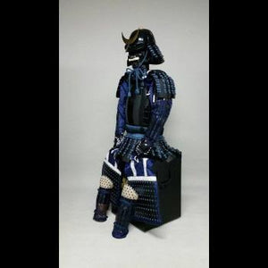 Black Armour with Dark Blue lacing 紺糸威黒桶側二枚胴具足 - Samurai Gift