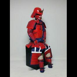 Red Armour with dark blue fabric-lacing 濃紺糸威赤桶側二枚胴具足 - Samurai Gift