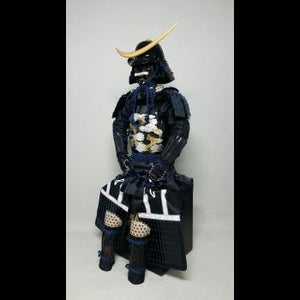 Black Armour with Dark Blue lacing(Dragon decoration)  濃紺糸威雲龍二枚胴具足 - Samurai Gift