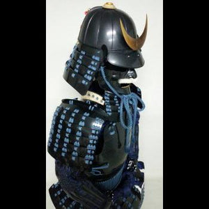 Black Armour with dark blue lacing(less shiny) 紺糸威黒桶側二枚胴具足(時代塗) - Samurai Gift