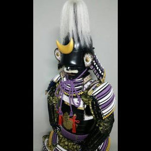 Black Armour with White/Purple lacing 藤白糸威毛立二枚胴具足 - Samurai Gift