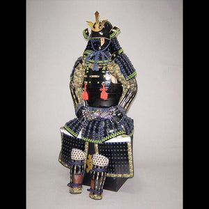 Black Armor with Blue and Green lacing 紺糸威蓬菱綴二枚胴具足 - Samurai Gift