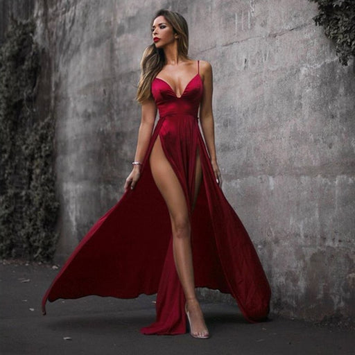 Shiny Red Velvet Maxi Dress