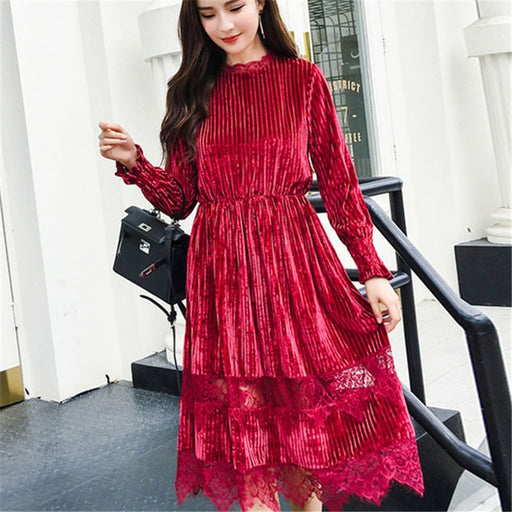 Red Lace Velvet Dress Women Long Sleeve Stand