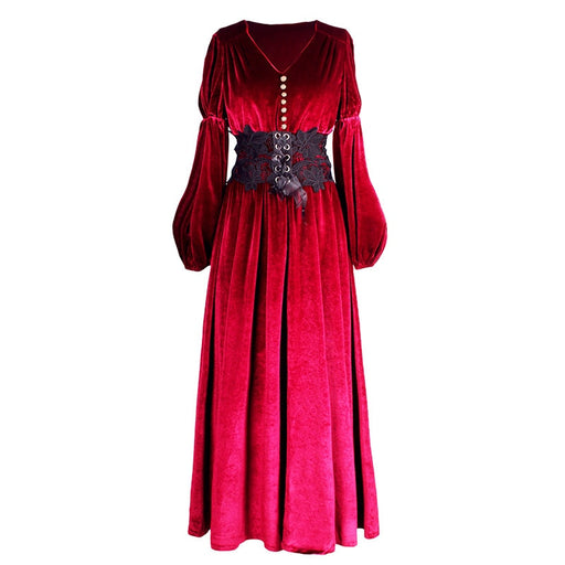 Women Long Sleeve Maxi V-neck S-L Vintage Dress Royal Style Velvet Wine Red